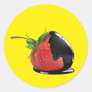 Schokolade bedeckte Erdbeere Runde Aufkleber