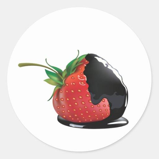 Schokolade bedeckte Erdbeere Sticker