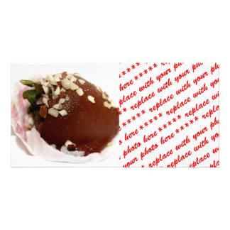 Schokolade bedeckte Erdbeere Fotokartenvorlage