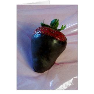 Schokolade bedeckte Erdbeere Grußkarte