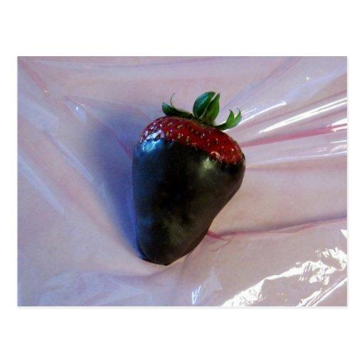 Schokolade bedeckte Erdbeere Postkarten