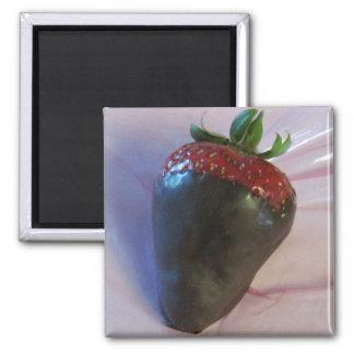 Schokolade bedeckte Erdbeere Quadratischer Magnet