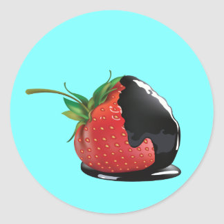 Schokolade bedeckte Erdbeere Runder Aufkleber