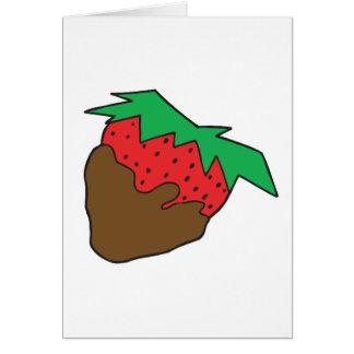 Schokolade bedeckte Erdbeere yum Grußkarte