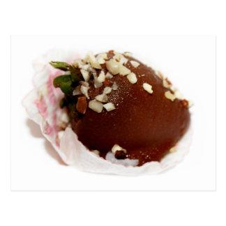 Schokolade bedeckte Erdbeeren Postkarte