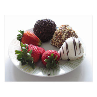 Schokolade bedeckte Erdbeeren Postkarten