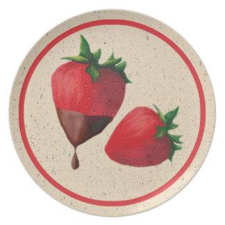 Schokolade bedeckte Erdbeerplatte Party Teller