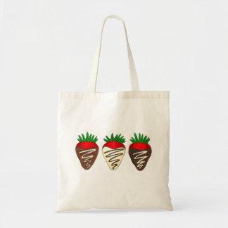 Schokolade bedeckte Erdbeervalentine-Tasche Budget Stoffbeutel