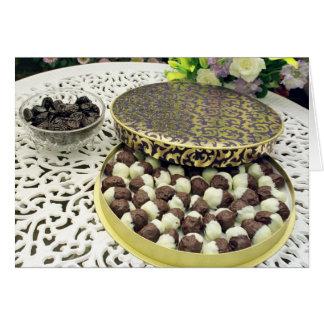 Schokolade eingetauchte Pflaumen Karte