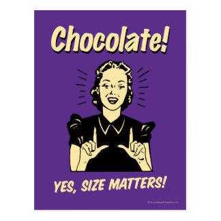 Schokolade: Größen-Angelegenheiten Postkarte