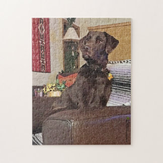 Schokolade Labrador retriever auf Stuhl Puzzle