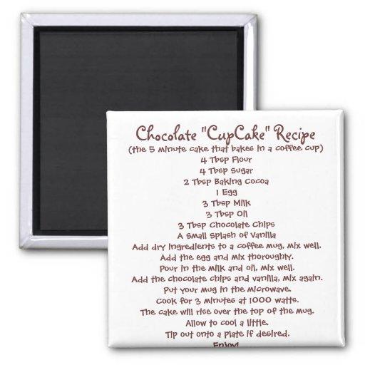 """Schokolade """"Schalen-Kuchen"""" in einem Tassen-Rezept Kühlschrankmagnet"""