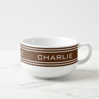 Schokolade Stripes kundenspezifische Große Suppentasse
