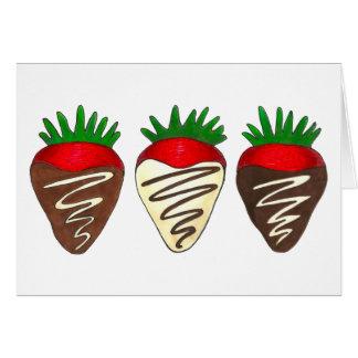 Schokolade tauchte ErdbeerValentinstag-Karten ein Grußkarte
