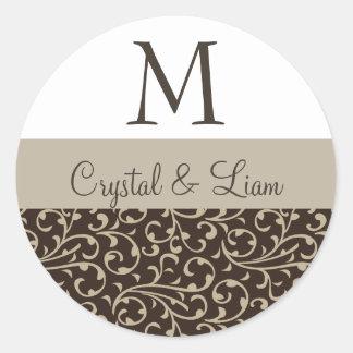 SCHOKOLADE u. MOKKA Damast-Hochzeits-Monogramm Runde Sticker