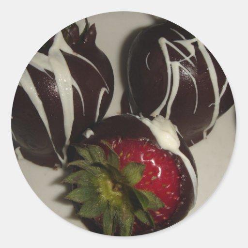Schokolade umfaßte Erdbeeraufkleber Runde Aufkleber