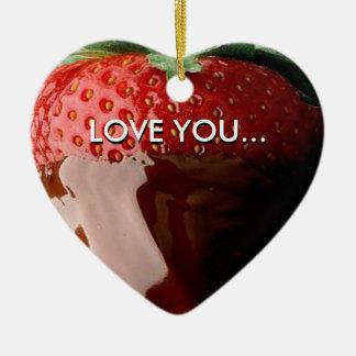 Schokolade umfaßte Liebevalentine-Herz Keramik Herz-Ornament