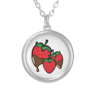 Schokoladen-Bad-Erdbeeren Halskette Mit Rundem Anhänger