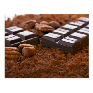 Schokoladen-Bar und Kakaopulver-Postkarte Postkarte
