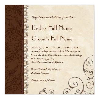 Schokoladen-Damast-Strudel-Brautparty-Einladung Quadratische 13,3 Cm Einladungskarte
