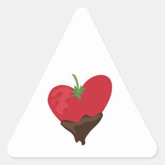 Schokoladen-Erdbeere Dreieckaufkleber