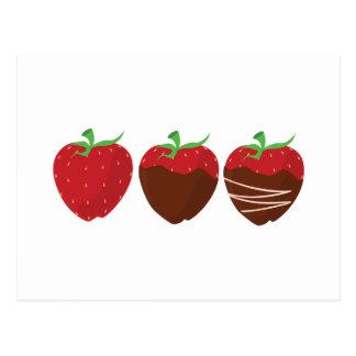 Schokoladen-Erdbeere Postkarte