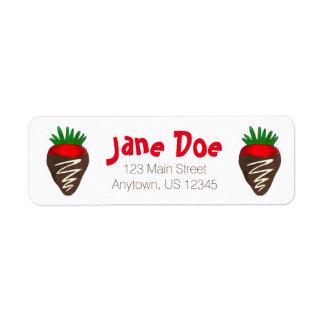 Schokoladen-ErdbeerValentinstag-Adressen-Etikett Rückversand-Adressaufkleber