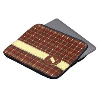 Schokoladen-Geschäfts-Monogramm - rotes Brown Laptopschutzhülle