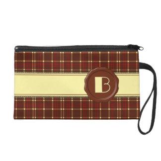 Schokoladen-Geschäfts-Monogramm - rotes Brown Wristlet Handtasche