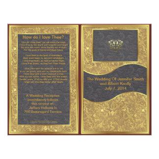 Schokoladen-Golddeluxes Hochzeits-Programm 21,6 X 27,9 Cm Flyer