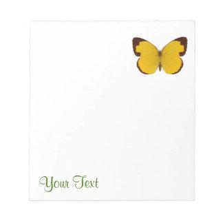 Schokoladen-Gras-Gelb-Schmetterling Notizblock