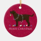 Schokoladen-Labrador-frohe Weihnacht-Entwurf Keramik Ornament