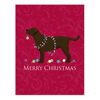 Schokoladen-Labrador-frohe Weihnacht-Entwurf Postkarte