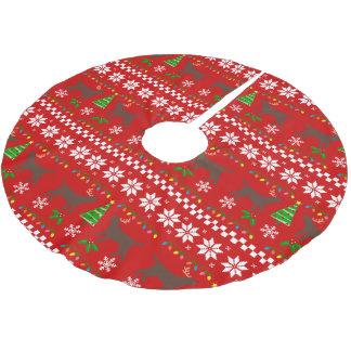 Schokoladen-Labrador-Geweih-hässliches Polyester Weihnachtsbaumdecke