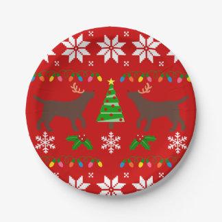 Schokoladen-Labrador-Geweih-WeihnachtsPappteller Pappteller