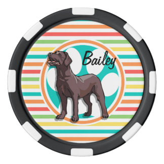 Schokoladen-Labrador; Helle Regenbogen-Streifen Poker Chips Set