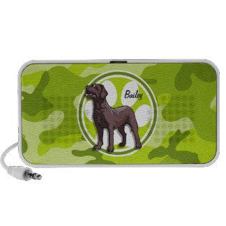 Schokoladen-Labrador hellgrüne Camouflage Mp3 Lautsprecher
