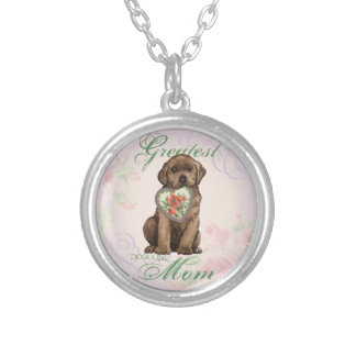 Schokoladen-Labrador-Herz-Mamma Versilberte Kette