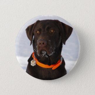 Schokoladen-Labrador-Knopf Runder Button 5,1 Cm