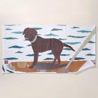Schokoladen-Labrador, Labrador-Retriever, modern Strandtuch