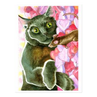 Schokoladen-schwarze Katze, Valentinsgruß-Herzen Postkarte