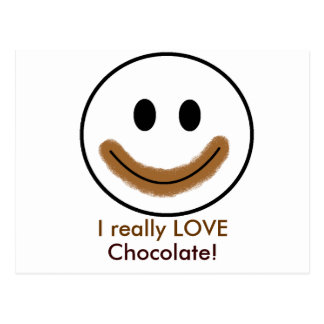 """Schokoladen-Smiley """"ich wirklich LIEBE Schokolade! Postkarte"""