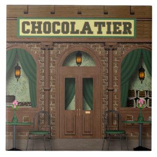 Schokoladen-Süßigkeits-Geschäfts-Cartoonfliese Große Quadratische Fliese