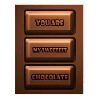 Schokoladen-Tablette Postkarte