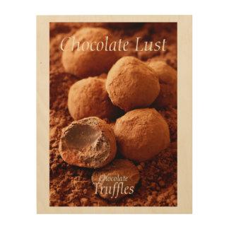 Schokoladen-Trüffel-Foto mit kundengerechtem Text Holzwanddeko