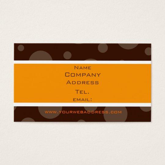 Schokoladenblasenorange, Name, Company, Adresse… Visitenkarte