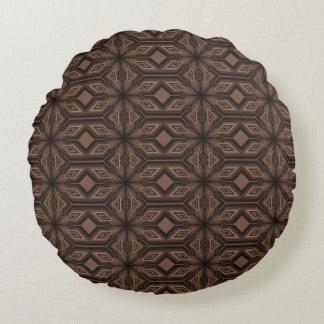 Schokoladenbraune Mosaik-Baumwollrundes Rundes Kissen