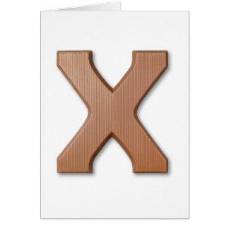 Schokoladenbuchstabe X Karte