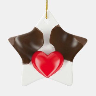 Schokoladenei und -herz keramik ornament