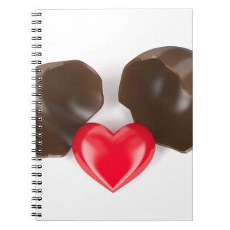 Schokoladenei und -herz notizblock